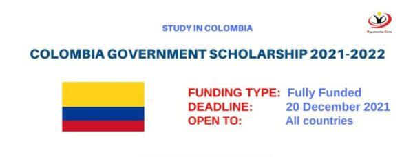 Học bổng chính phủ toàn phần thạc sĩ Colombia